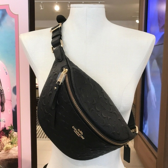 NWT Coach F48741 Signature Leather Belt Bag Fanny Pack in Black $298